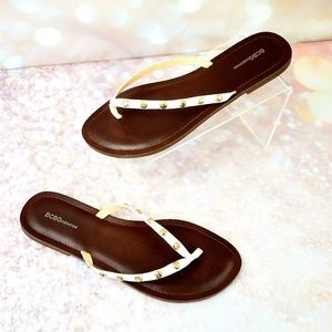 BCBGeneration Ivory & Gold studded sandals size 10